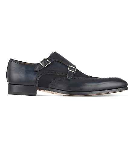 MAGNANNI Leather & suede double monk shoes (Navy