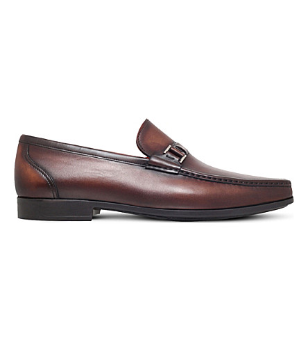 MAGNANNI Side-buckle leather penny loafers (Mid+brown