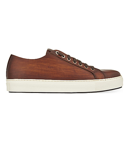 MAGNANNI Tennis leather trainers (Tan