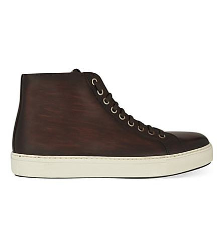 MAGNANNI Leather high-top trainers (Brown