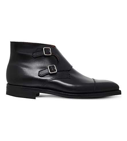 CROCKETT & JONES Camberley leather double monk boots (Black