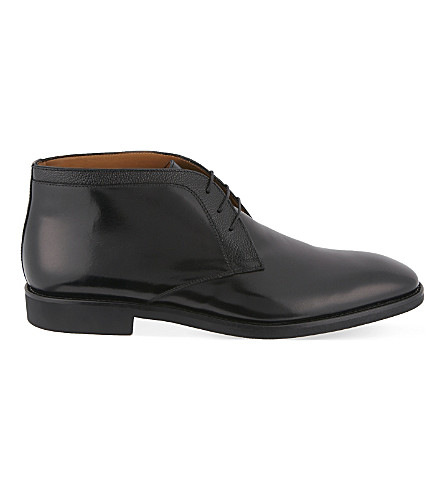 STEMAR 装饰3眼 chukka 皮靴 (黑色