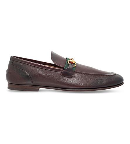GUCCI Elanor bit detail leather loafers (Dark+brown