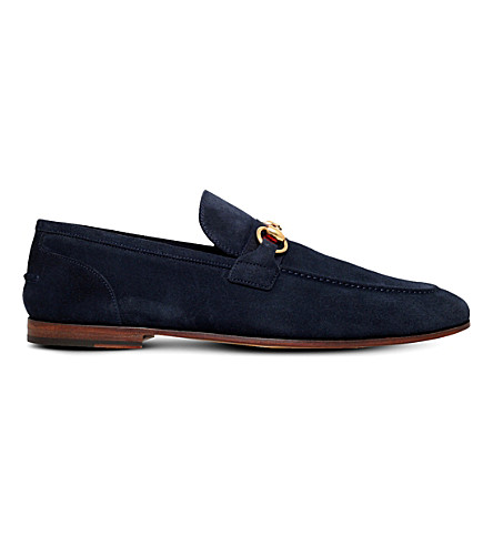GUCCI Elanor Horsebit suede loafers (Navy