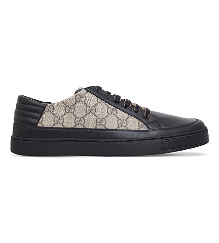 GUCCI Logo-detailed leather and textile trainers (Black