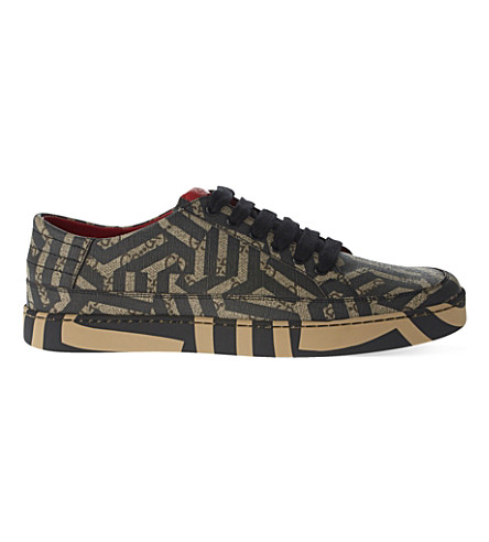 GUCCI Common geometric print low-top trainers (Blk/brown