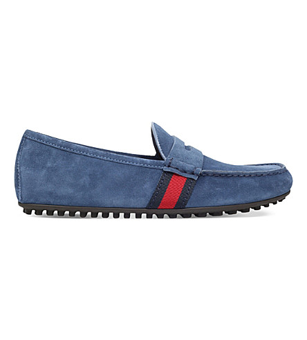 GUCCI Kanye suede driving shoes (Pale+blue