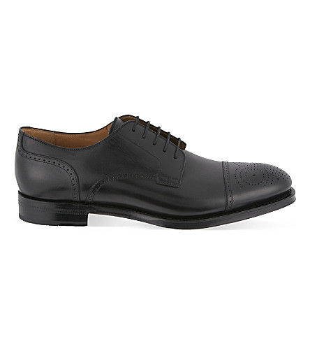 GUCCI Boss brogue leather derby shoes (Black