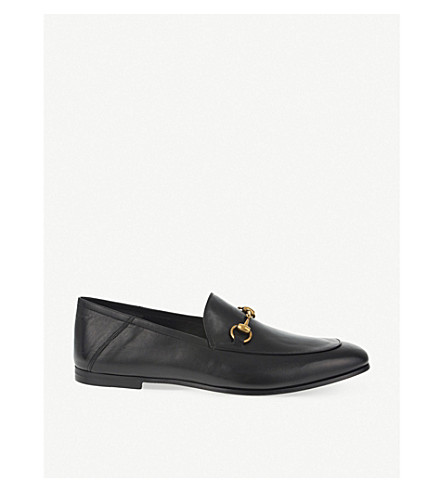 GUCCI Brixton leather slide moccasins (Black