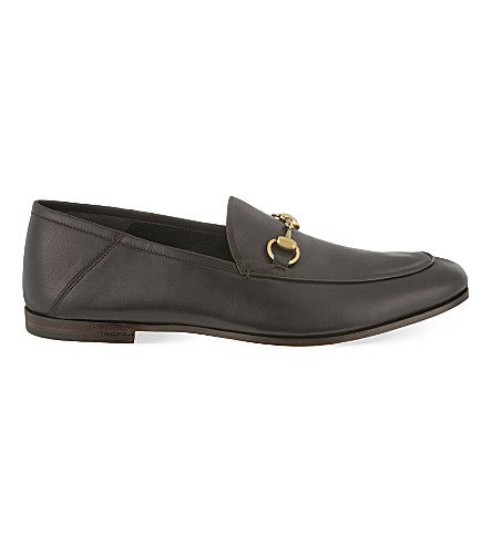 GUCCI Brixton slide leather moccasins (Dark+brown