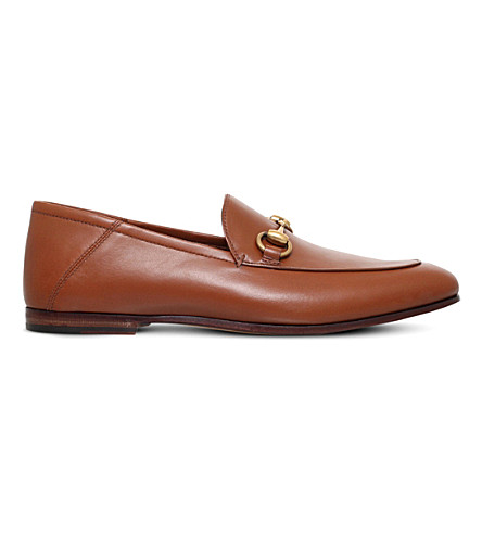 GUCCI Brixton leather moccasins (Tan