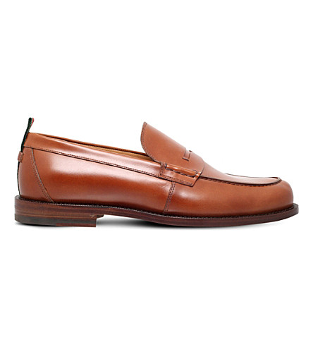 GUCCI Tobias leather penny loafers (Tan