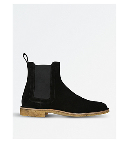 BOTTEGA VENETA Stiched-detail suede ankle boots (Black