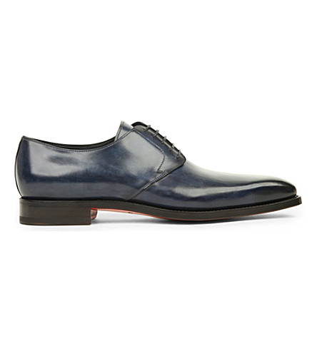 SANTONI George leather derby shoes (Blue