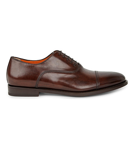 SANTONI Leather Oxford shoes (Brown