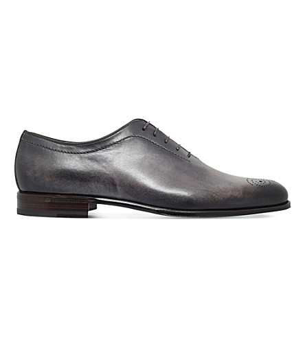 STEMAR Hand painted leather Oxford shoes (Grey/dark