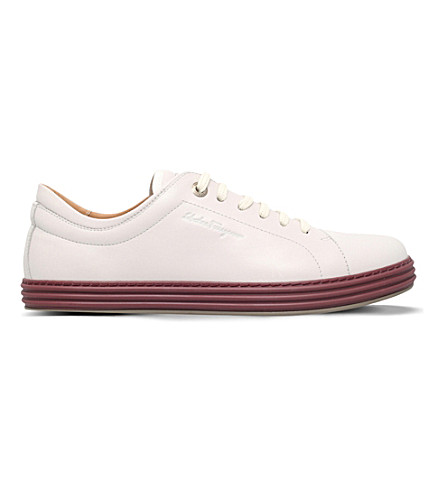 SALVATORE FERRAGAMO Newport leather low-top trainers (White