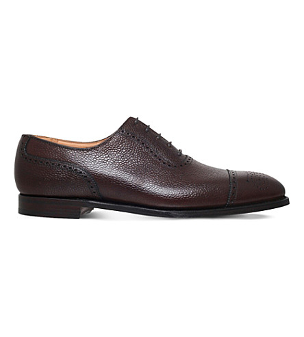 GEORGE CLEVERLEY Adam grain leather Oxford shoes (Dark+brown