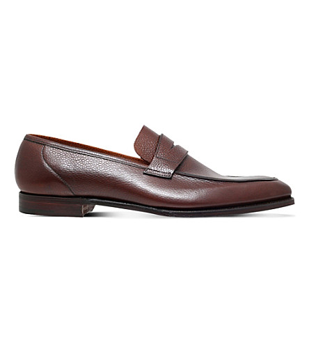 GEORGE CLEVERLEY George grain-leather penny loafer (Brown