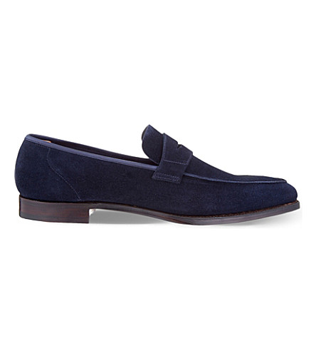 GEORGE CLEVERLEY George suede penny loafers (Navy