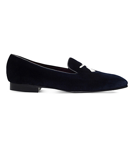 GEORGE CLEVERLEY Tassel-stitch velvet slippers (Navy