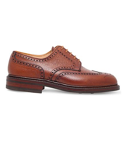CROCKETT & JONES Pembroke grain-leather derby shoes (Tan