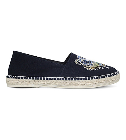 KENZO Tiger head embroidered canvas espadrilles (Navy
