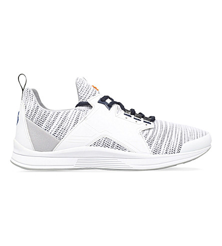 KENZO Ozzy leather and mesh running trainers (White
