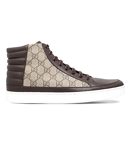 GUCCI Common logo-print leather high-top trainers