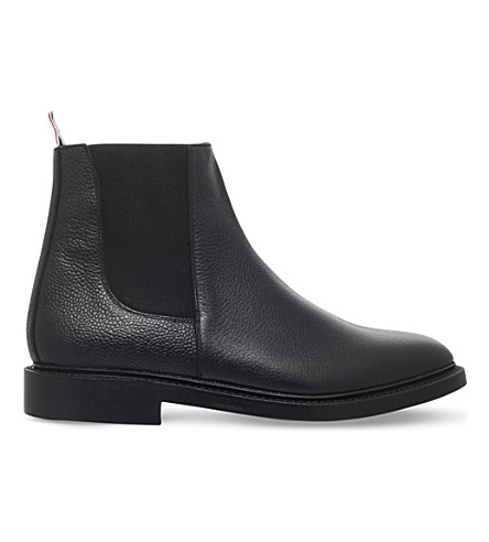 THOM BROWNE Pebble-grain leather Chelsea boots (Black