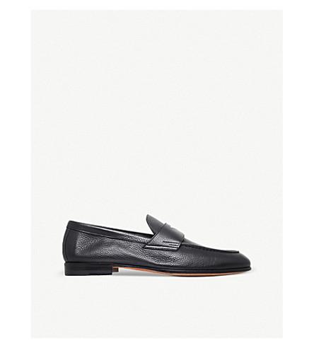 SANTONI Carlos deer leather penny loafer (Black