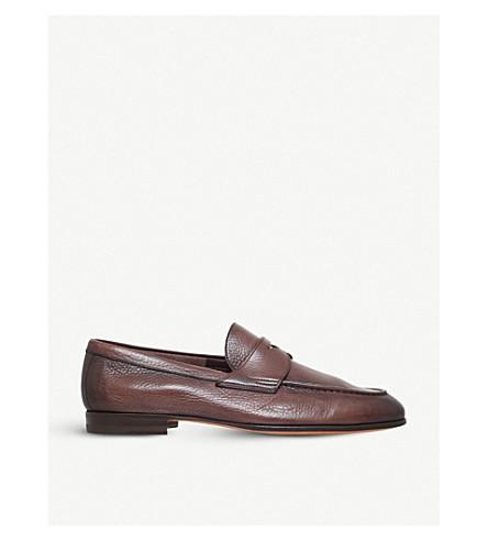 SANTONI Carlos deer leather penny loafer (Brown