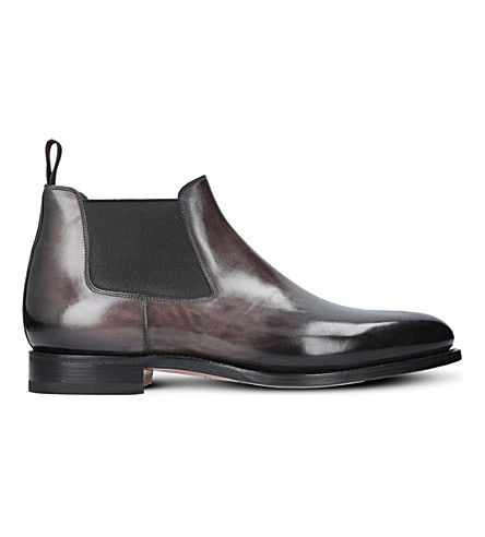 SANTONI Kenneth leather chelsea boots (Black