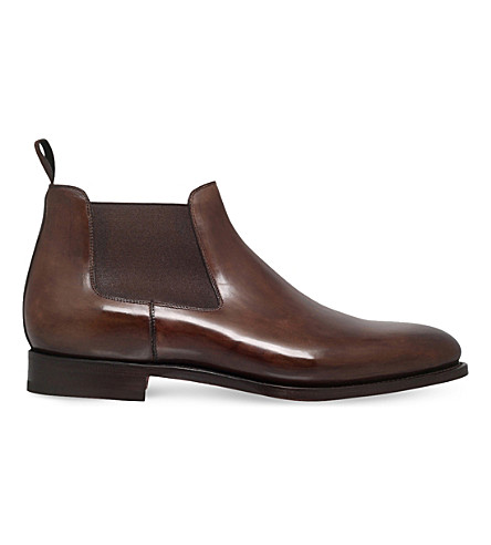 SANTONI Kenneth leather chelsea boots (Brown