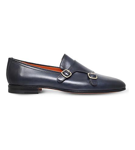 SANTONI Carlos leather monk shoes (Navy