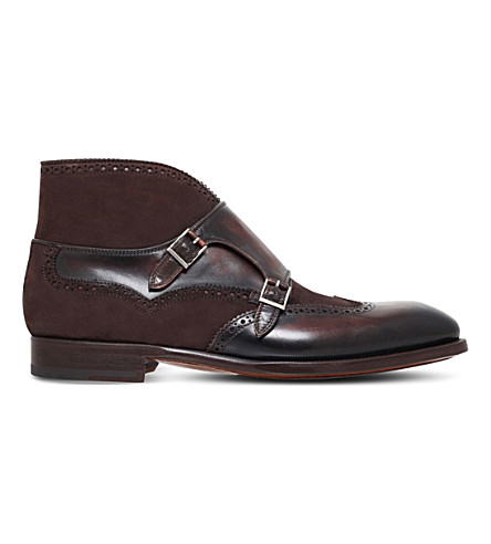 MAGNANNI Double-monk leather boots (Brown