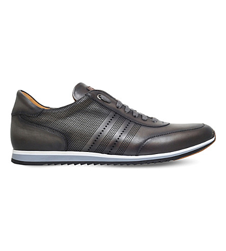MAGNANNI Perforated leather trainers (Grey