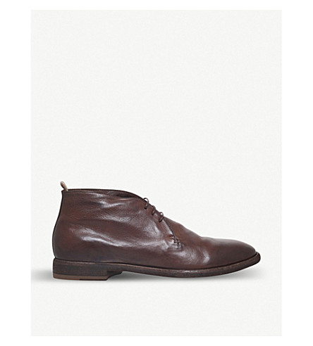 OFFICINE CREATIVE 3-eye leather desert boots (Dark+brown