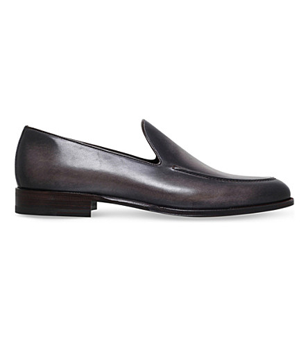 STEMAR Burnished-leather loafers (Grey