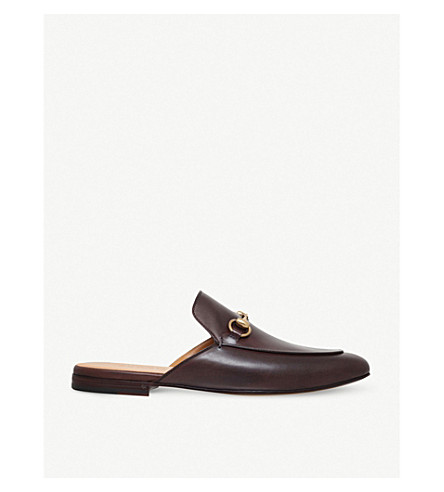 GUCCI Princetown leather slippers (Brown