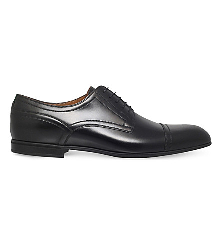 GUCCI Ravello web leather derby shoes (Black
