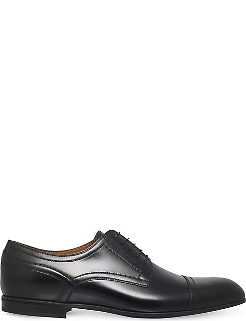 GUCCI Ravello web leather derby shoes