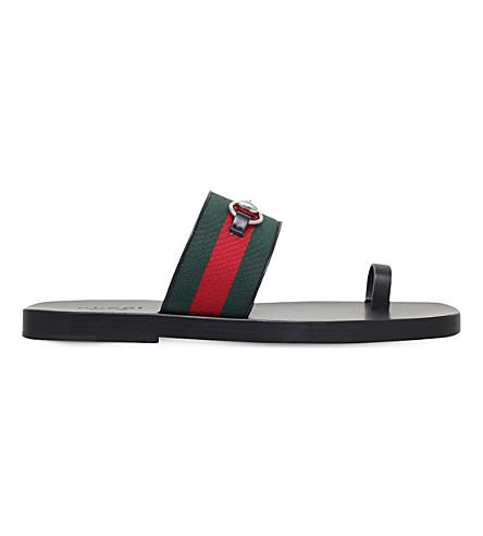 GUCCI Horsebit web leather sandals (Black