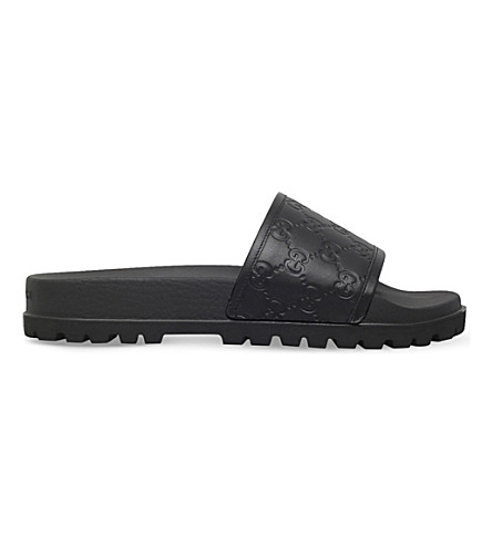 GUCCI Pursuit Trek leather slider sandals (Black