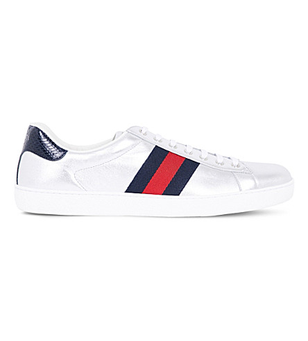 GUCCI New Ace metallic leather trainers (Silver