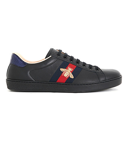 GUCCI Ace embroidered bee leather low-top trainers (Black