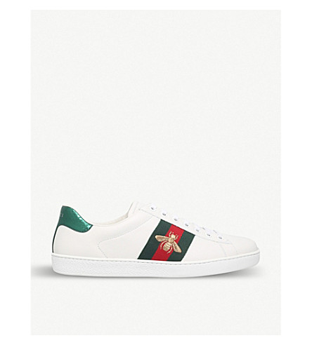 GUCCI New Ace bee-embroidered trainers (White