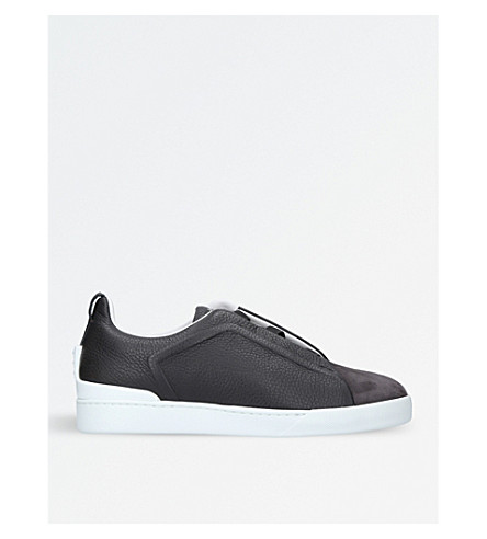 ERMENEGILDO ZEGNA Couture 3x low-top leather and suede trainers (Grey/dark