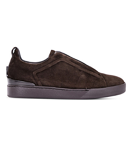 ERMENEGILDO ZEGNA Couture 3x low-top suede trainers (Brown