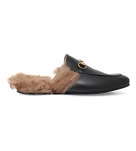 GUCCI Princetown leather slippers (Black